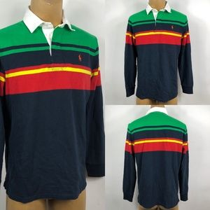 Polo Ralph Lauren Striped Rugby Polo Mens Sz L